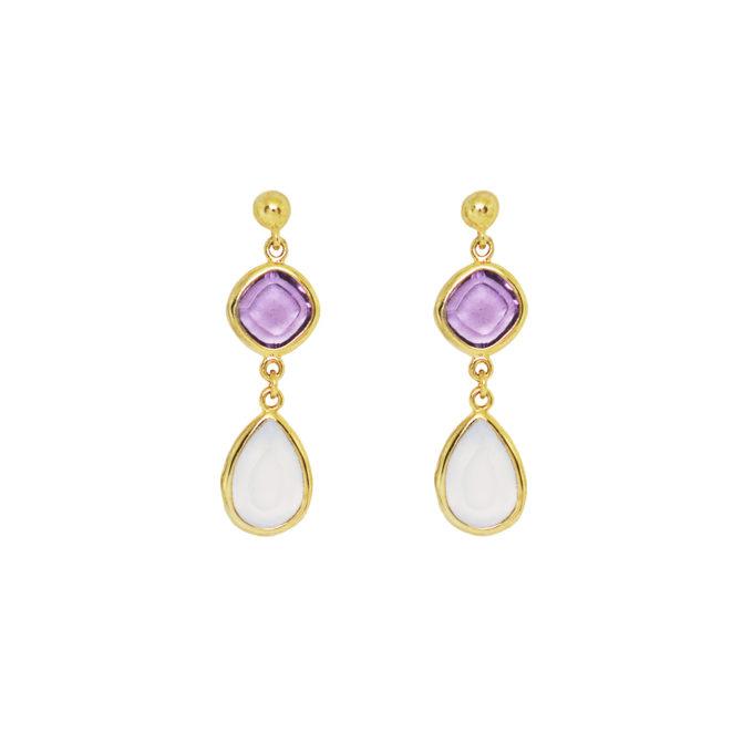 Pendientes EMMA cuarzo amatista – calcedonia lila